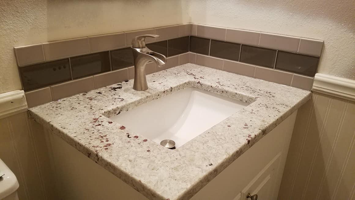 Tile Back Splash Brown's - Hall Bath