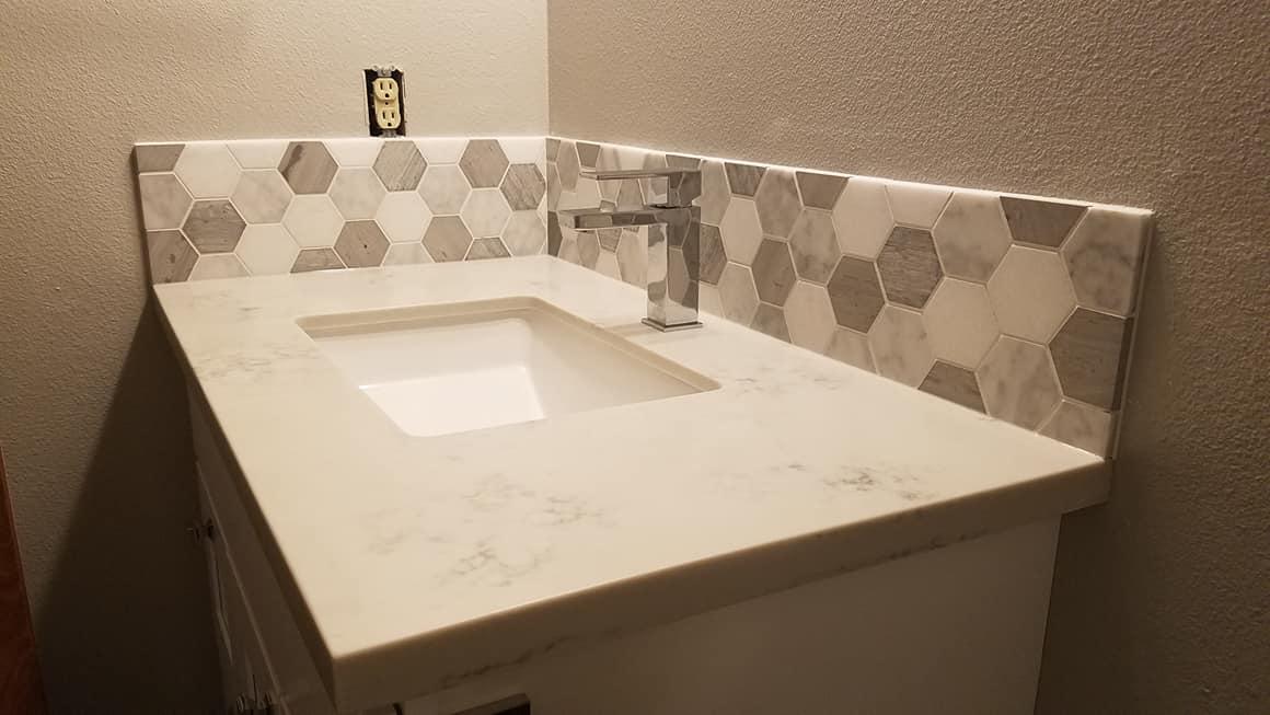 Tile Back Splash - Hall Bath