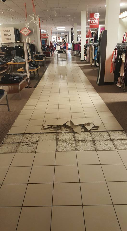 Tile Commercial Floor Repair - Before